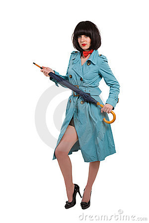 Young woman in blue coat