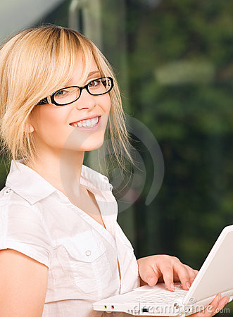 Office girl with laptop computer
