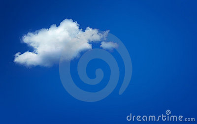 One simple cloud on blue sky.