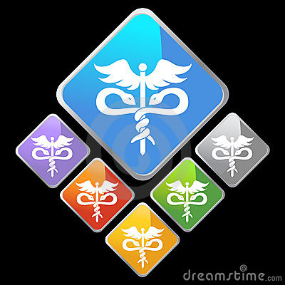 Chrome Diamond Icons - Caduceus
