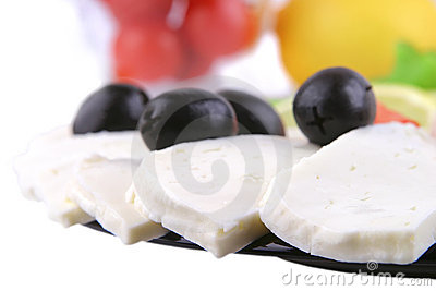 Soft cheese served with vegetable