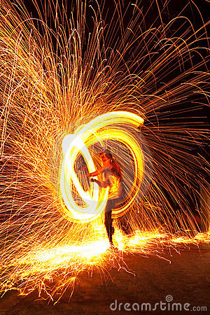 Firedancer surrounded by fire and sparks