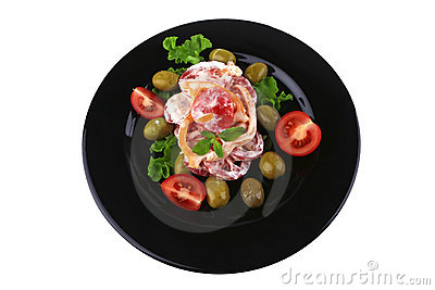 Tomatoes salad and olives