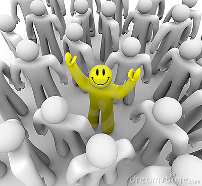 Smiley Face Person Standing Out in Crowd