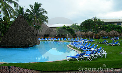 Resort in Costa Rica with poolside lounge chairs
