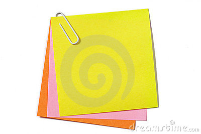Colored notes with paper clip
