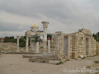 Ruins of cathedral in Hersones, Crimea,
