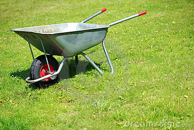 Wheelbarrow on the lawn