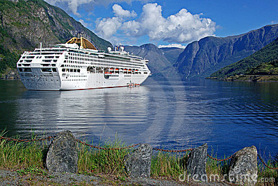 Cruising ship in the fjord