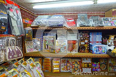 HONG KONG, CHINA - JANUARY 26, 2017: Paper objects for the dead relatives for the afterlife in a store in Hong Kong