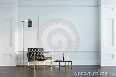 White living room, armchair and poster