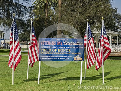 Veteran's Day Celebration flags selling