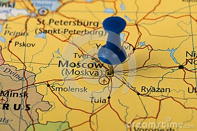 Moscow Pinned in a closeup map for football world cup 2018 in Russia