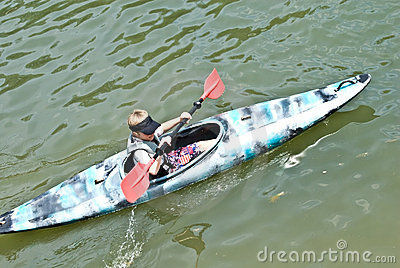 Young Boy in a Kayak / Close