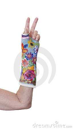 Arm in decorated cast making peace sign