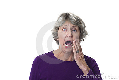 Senior woman with terrible toothache