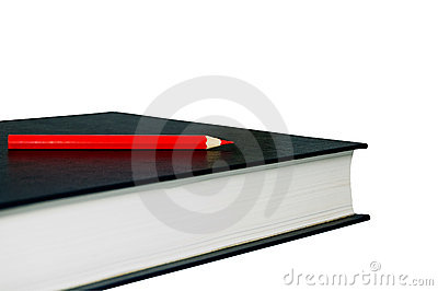 Book and pencil.  with clipping path.
