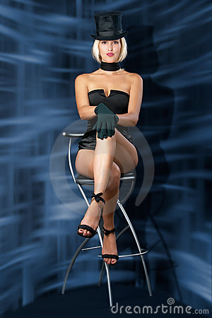 Cabaret showgirl on bar chair
