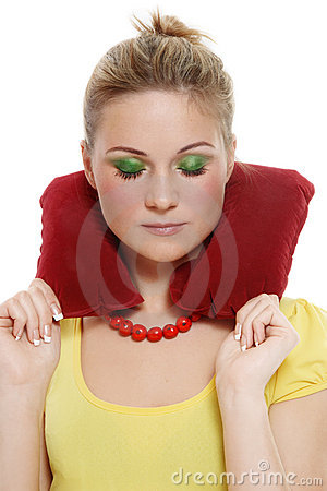 Girl with headrest pillow