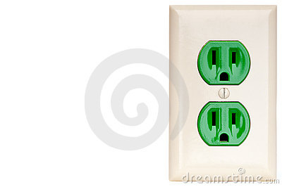 A green power outlet receptacle