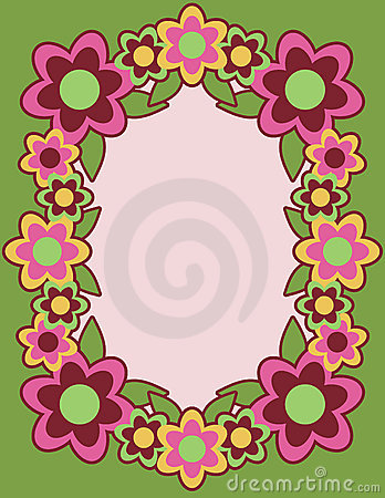 Retro Flower Frame_Green