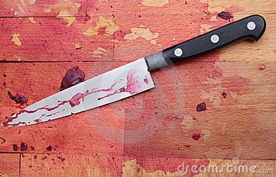 Butchers Block and Knife