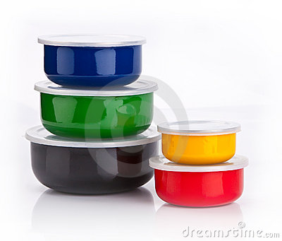 Colourful plastic containers