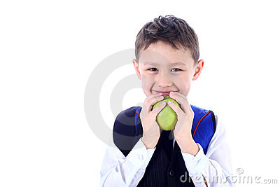 Schoolboy with apple