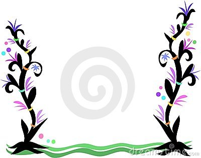 Frame of Tattoo Style Plants, Rings, and Bubbles