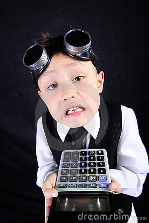 Boy with calculator