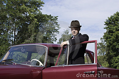 Old car driver