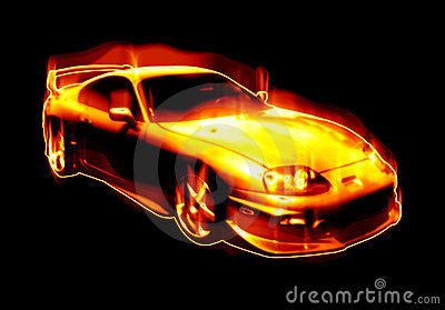 Fiery Blazing Sports Car