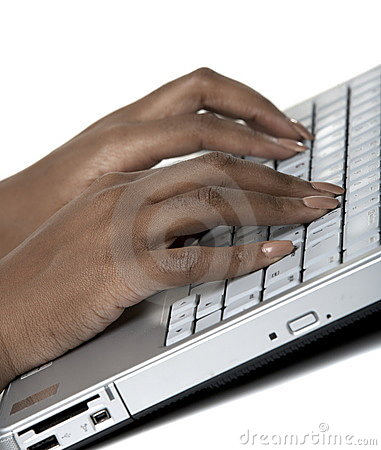 Female hands typing