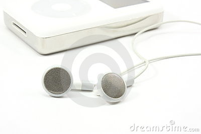 Earbuds next to MP3 Player