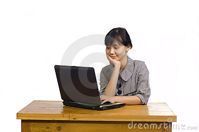 Business Woman Using Laptop on White Background