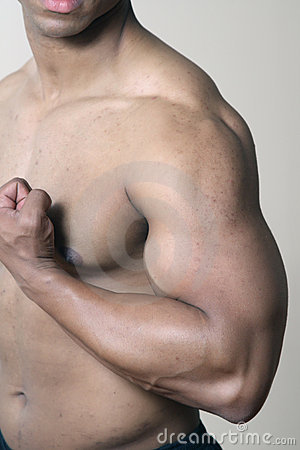 Male muscular shoulder chest and arm