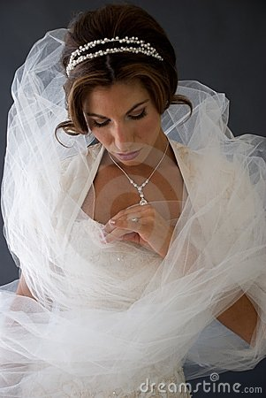 Bride Wrapped in Veil Admiring Her Ring