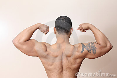 Muscle man, both arms flexed