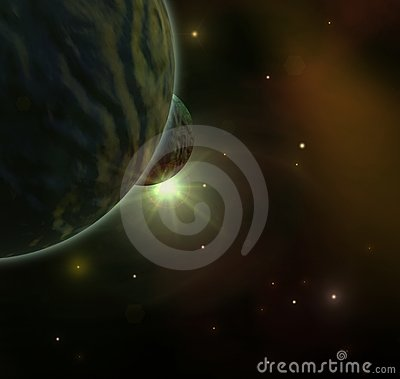 Dark space with planets