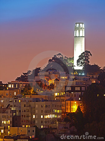 The night scene of coit tower