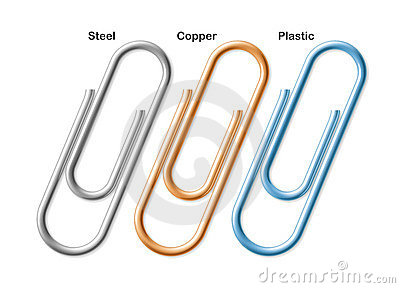 Steel, copper and plastic paper clips