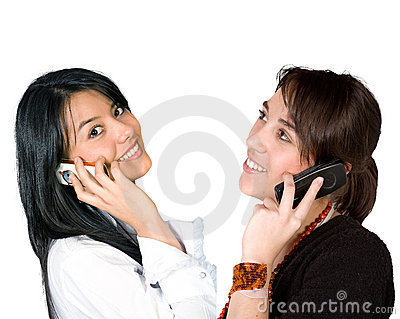 Business girls on the phone