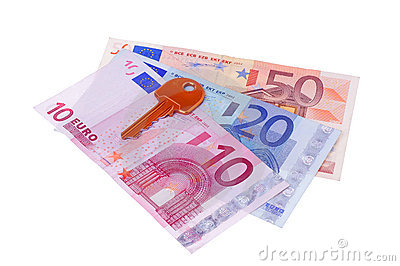 House key and euro banknotes