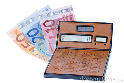 Calculator and euromoney note