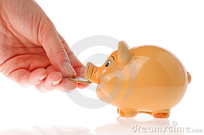 Piggy bank, hand and euro currency