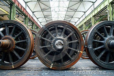 The train wheels in repair
