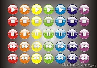 3D Colorful player buttons