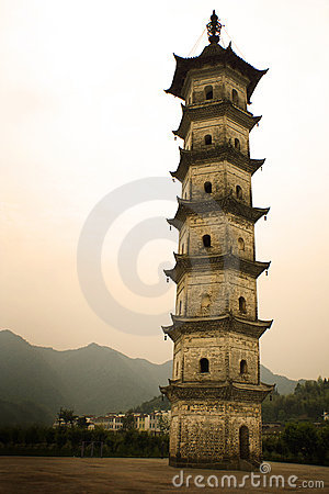 Slender pagoda in southern chinese village