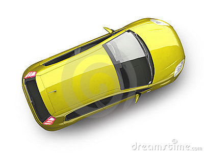 Yellow hatchback car top view