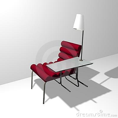 A red soft easy chair